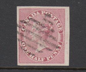 Canada Sc 8 used. 1857 ½p rose QV, Toronto Diamond Grid cancel, fresh, VF