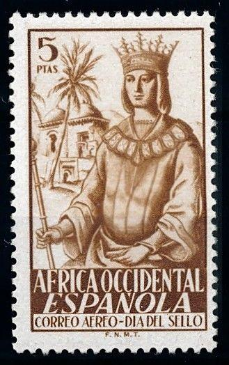 [68479] Spanish West Africa 1949 Stamp day Queen Isabella Airmail MNH
