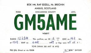 8655 Amateur Radio QSL Card  ANGUS SCOTLAND