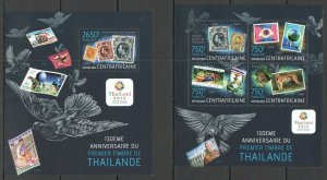 CA625 2013 CENTRAL AFRICA 130TH ANNIVERSARY OF FIRST THAILAND STAMP KB+BL MNH