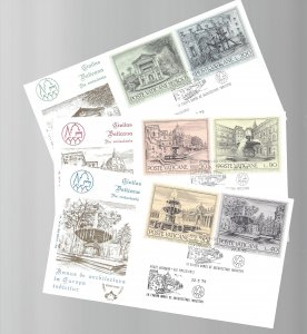 Vatican, 573-78, Euro Architecture Kim Cover First Day Cover (FDC) Set of 3,Used