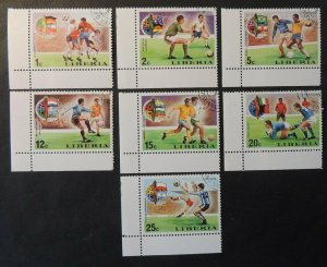 Liberia 1974 sport football world cup flags used