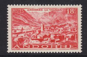 Andorra, French Sc 122 MLH. 1951 18f Old Andorra Town, VF