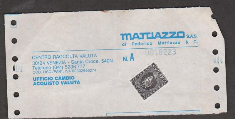 ITALY Receipt With 500 Lira Revenue Stamp