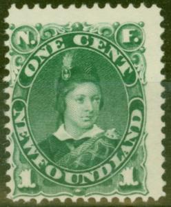 Newfoundland 1887 1c Blue-Green SG50 Fine & Fresh Lightly Mtd Mint