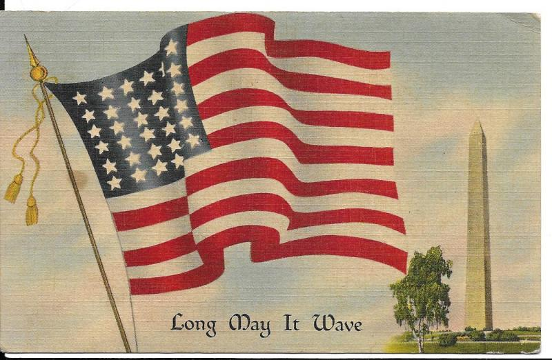 Postcard with stamp, # 804 March 13, 1942. cancel & FLAG,Long may it WAVE