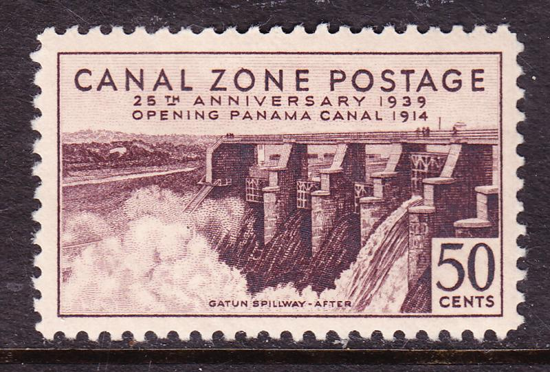 Canal Zone Nr.135 Mint(*) Gatun Spillway-After 50c violet brown