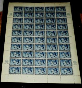 U.N. 1953, NEW YORK #18, UNIVERSAL POST UNION, CONTROL #013-1B, MNH, SHEET/50,