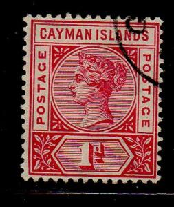 Cayman Islands Sc 2 1900 1d Victoria stamp used