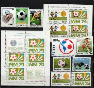POLAND 1974-1994 SOCCER WORLD CUP SET OF 9 STAMPS & 2 S/S MNH