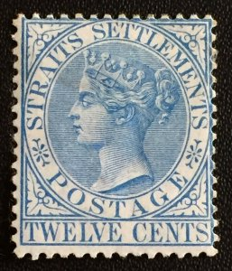 MALAYA Straits Settlements 1867 QV 12c CC Ultramarine MNG SG#15a M3170