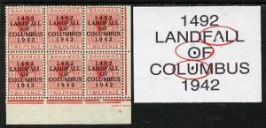 Bahamas 1942 KG6 Landfall of Columbus 2d scarlet SE corne...