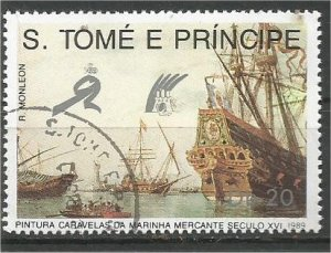 ST. THOMAS AND PRINCE, 1989, used 20d, Merchant ships Scott 892