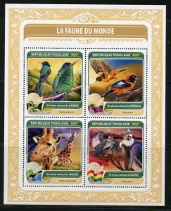 TOGO 2016 FAUNA OF THE WORLD OFFICIAL BIRD OR ANIMALFROM JAMAICA BOLIVIA SHT