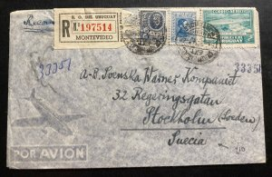 1946 Montevideo Uruguay Airmail Cover To Stockholm Sweden