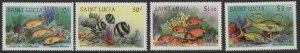 ST.LUCIA SG646/9 1983 CORAL REEF FISH MNH