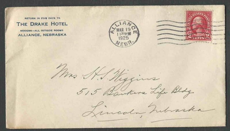 Dated 1925 Cover Alliance Ne The Drake Hotel