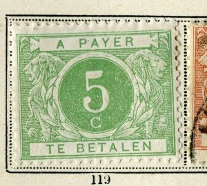 BELGIUM; 1896 early classic Postage Due issue fine mint hinged 5c. value