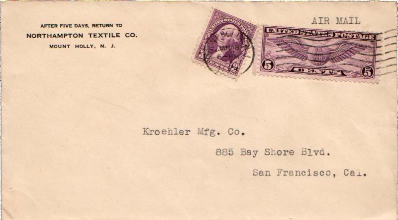 United States New Jersey Mount Holly c1935 machine  3c Washington Fourth Bure...