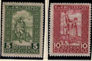 Bosnia Herzegovina Scott B9-B10 MH* semi-postal stamp set