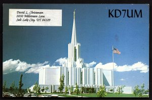 QSL QSO RADIO CARD Jordan River Temple,David L. Christensen,KD7UM, UT (Q2425)