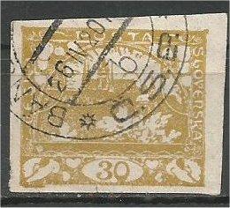 CZECHOSLOVAKIA, 1918, used 30h, Hradcany, Scott 6 Imperf