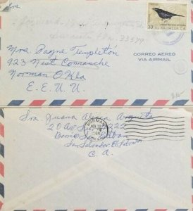 A) 1964, EL SALVADOR, BIRD, LETTER SHIPPED TO NORMAN-UNITED STATES, AIRMAIL, CAN