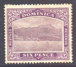 Dominica Scott 42 - SG52a, 1908 Roseau 6d MH*