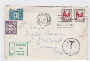 cape town to england more to pay postage due stamps cover ref 13197