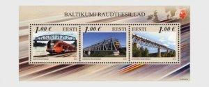 2012  ESTONIA - SG: MS 693  - BALTIC RAILWAY BRIDGES - UNMOUNTED MINT MINI SHEET