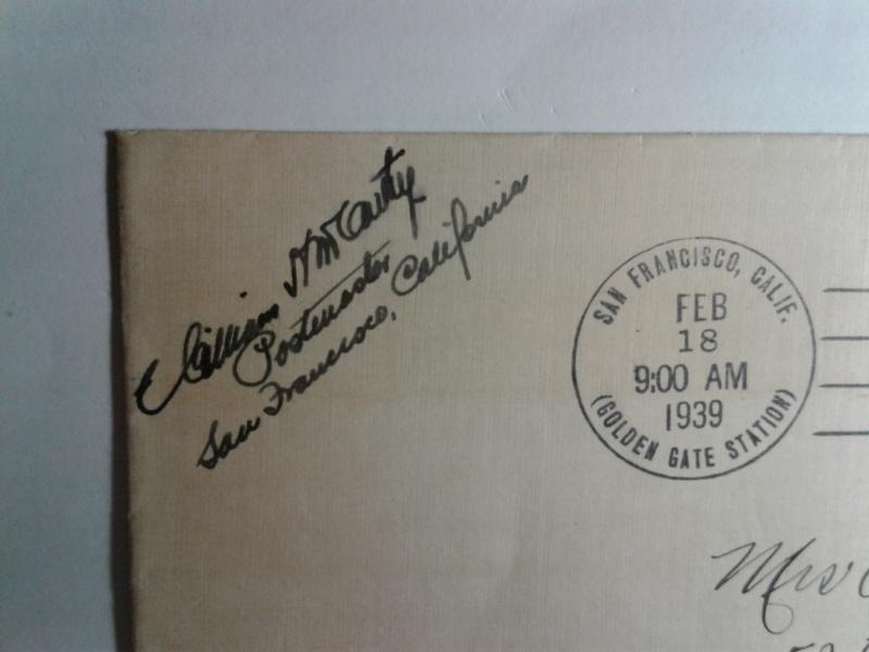 SCOTT # 852 FIRST DAY OF ISSUE GOLDEN GATE BRIDGE SIGNED BY POSTMASTER !!!