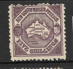 NEW SOUTH WALES 1888-89   5/-  MAP   MLH  P10   SG 261a
