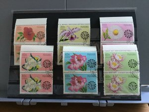 Panama Beautiful Flowers  cancelled  stamps pairs R25466