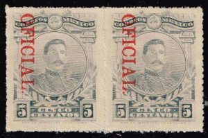 MEXICO STAMP 5C OFFICIAL OVPT MINT/OG STAMPS PAIR