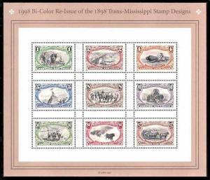 # 3209 Bi Color Reissue of 1898 Trans Mississippi Set 1998 Sheet MNH