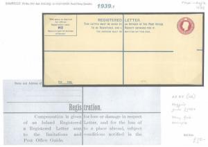 1939.1 GB Registered Postal Stationery Envelope RP47{H}/Unused {samwells-covers}