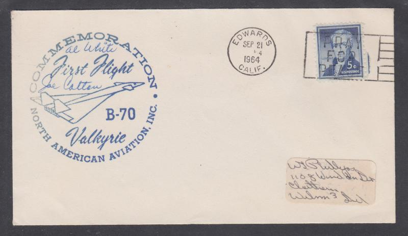 US Sc 1038 on 1964 Valkyrie First Flight cover, Al White and Joe Cotton Pilots