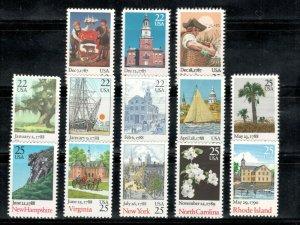 2336-2348 Bicentenary Statehood Set Of 13 Postage Stamp Singles Mint/nh  (A-159)