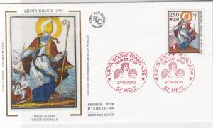 France 1993 Red Cross Slogan Cancels St Nicolas Pic + Stamp FDC Cover Ref 31650