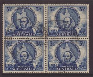 1946 Australia 3½d Mitchell Block of 4 Fine Used