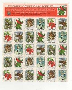 USA National Wildlife Federation Christmas Stamps 1984 Sheet of 30 MNH