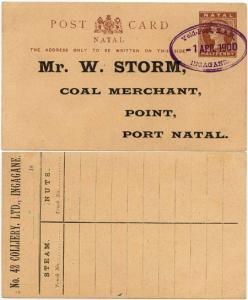 Natal - 1900 Postal Card showing Scarce Military Cancel