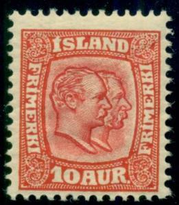 ICELAND #76 10aur Two Kings, og, NH, VF, scarce, Facit $550.00