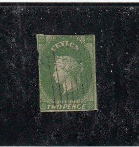 CEYLON (MK6544) # 4  F-USED THIN  2p 1857-59 QUEEN VICTORIA / DEEP GREEN CV $75