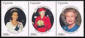 Uganda 1412, MNH, 70th Birthday of Queen Elizabeth II strip of 3