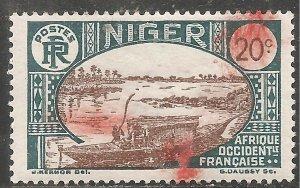 Niger Stamp - Scott #37/A3 20c Prussian Green & Olive Brown Canc/LH 1926