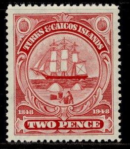 TURKS & CAICOS ISLANDS GVI SG211, 2d carmine, M MINT.