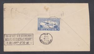Canada Sc CL44, 142 on 1928 FIRST FLIGHT cover, Victoria to Vancouver, B.C