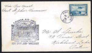 CANADA 1938 Fort Saint John to Vancouver FFC