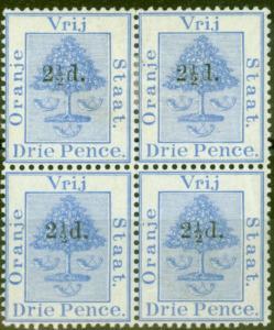 Orange Free State 1892 2 1/2d on 3d Ultramarine SG67 Fine Mtd Mint Block of 4